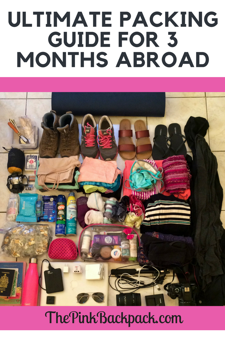 ultimate packing guide for 3 months abroad traveling - the pink backpack travel blog