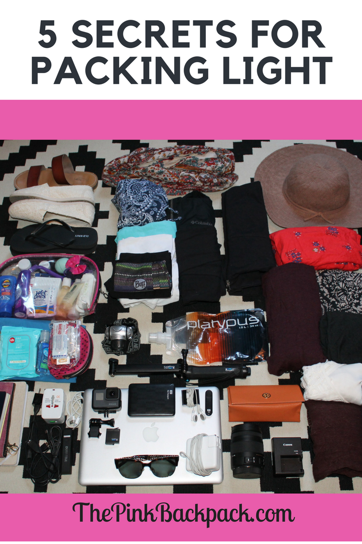 light packing | The pink backpack travel blog