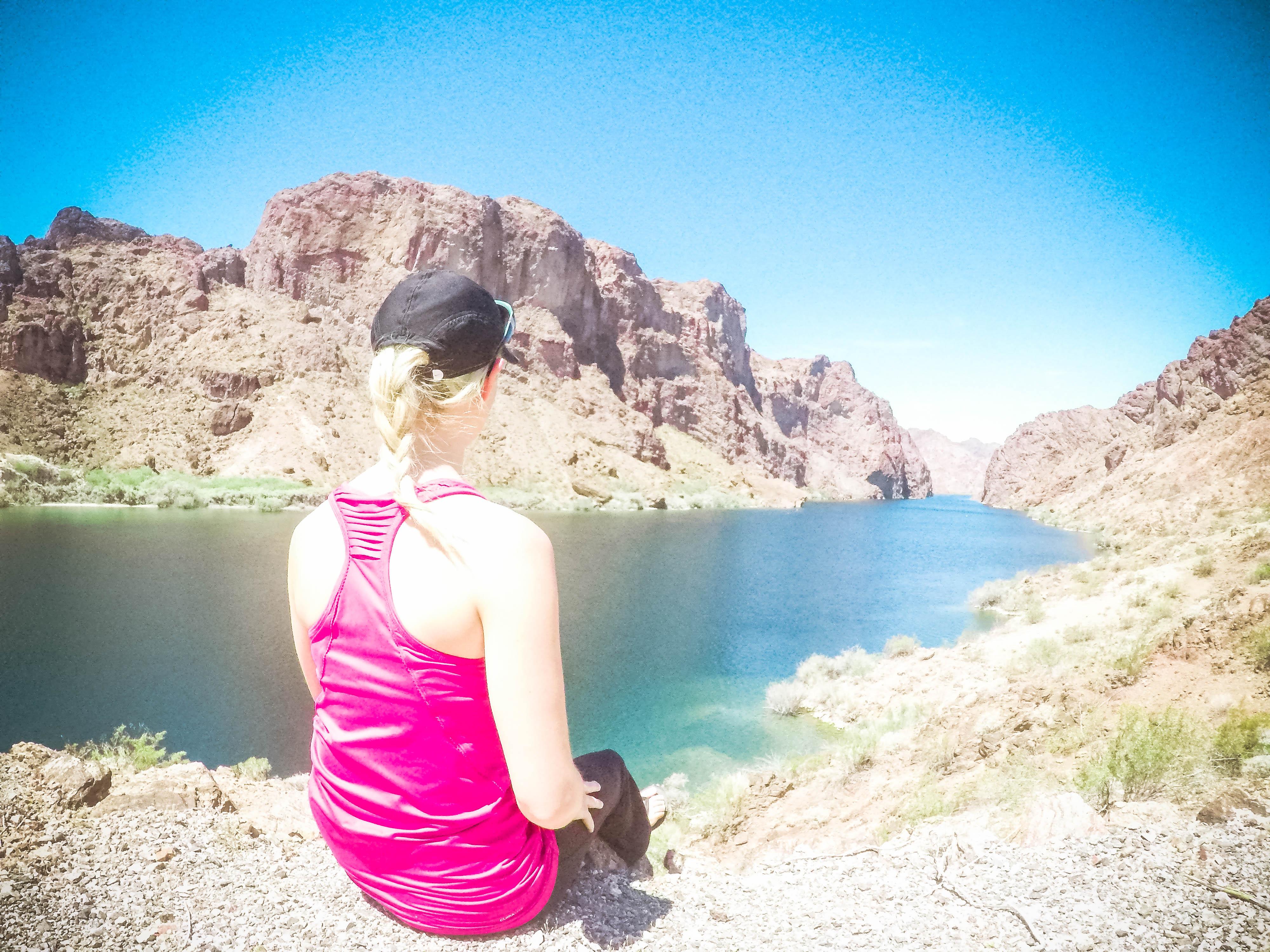 a short hike break from kayaking the black canyon, arizona